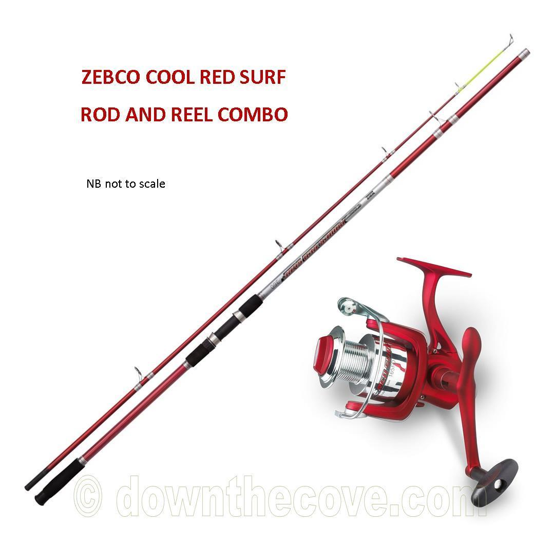 Zebco cool power red surf rod reel combo down the cove for Best surf fishing rod and reel combo