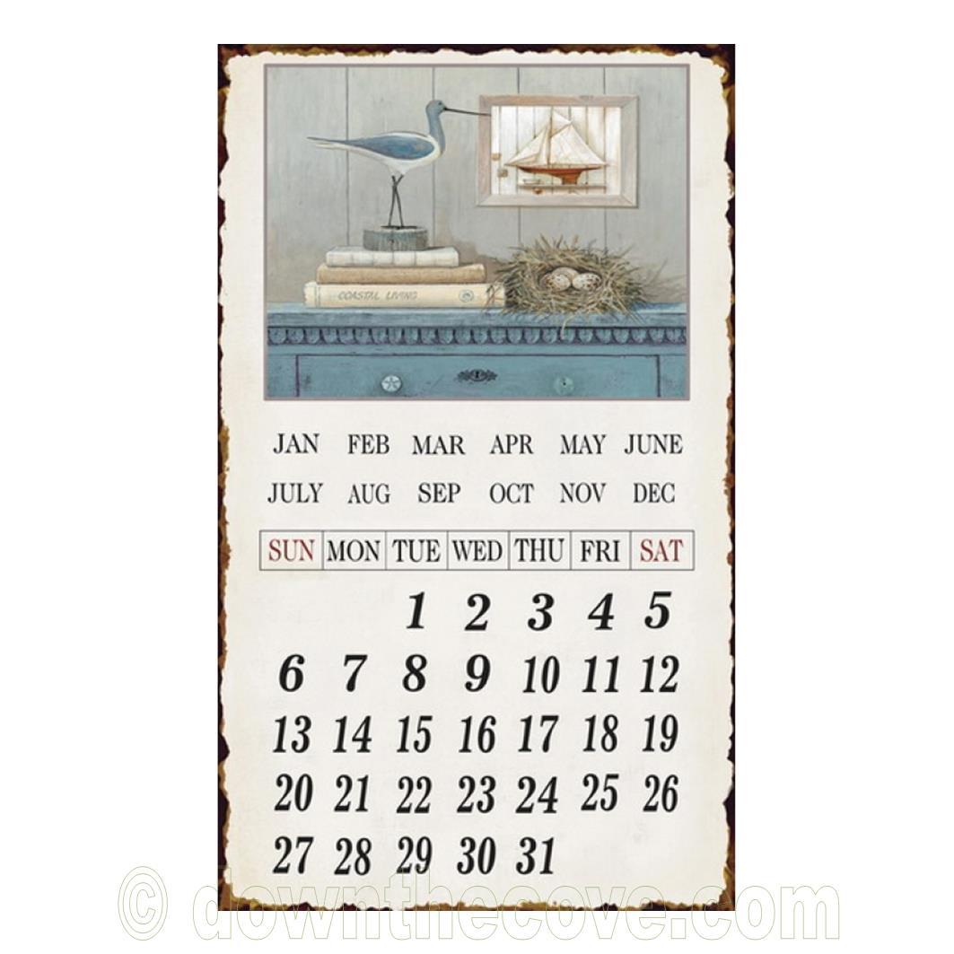 Retro Metal Perpetual Wall Calendar Down The Cove