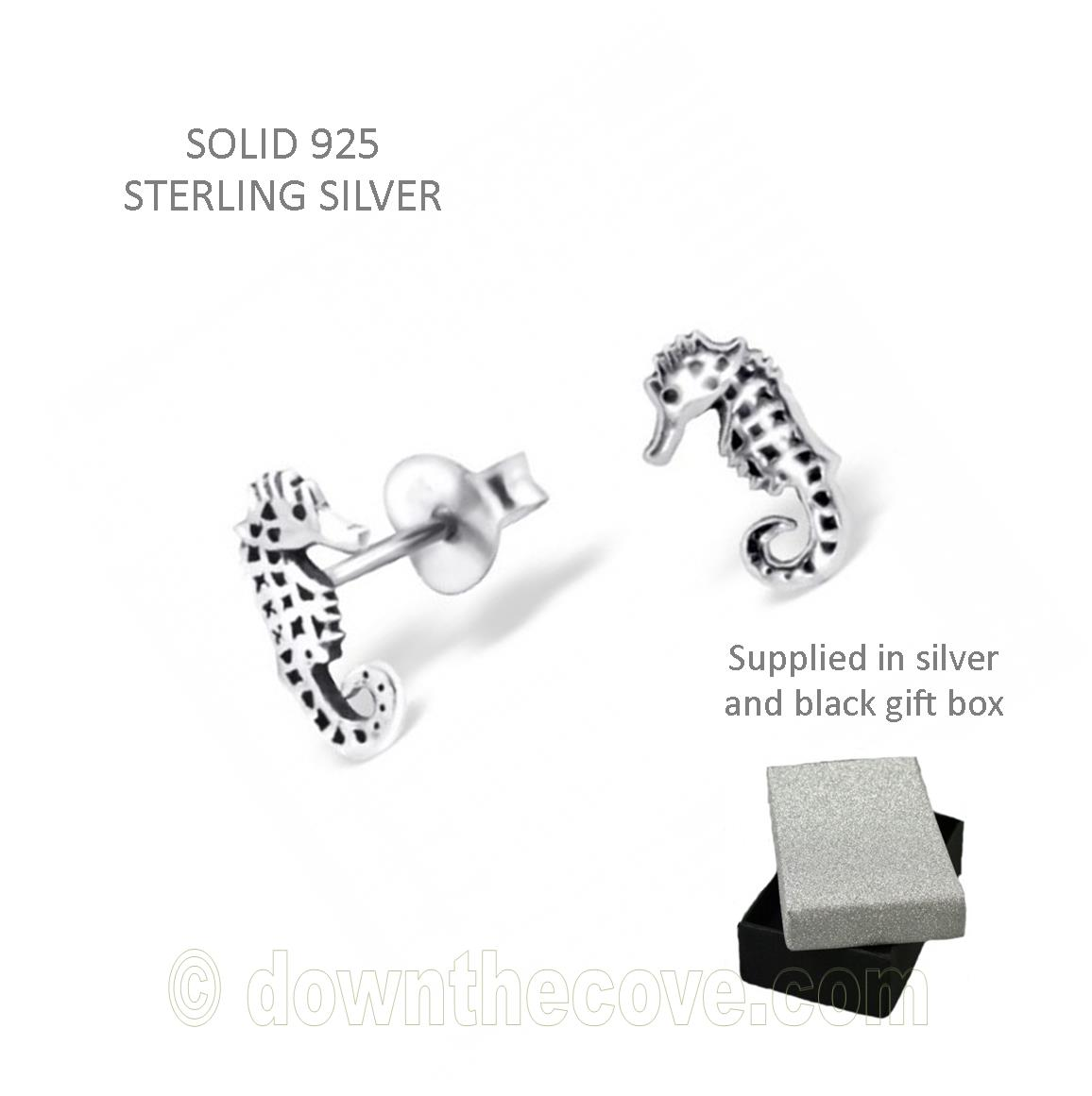 Children S Silver Seahorse Ear Studs